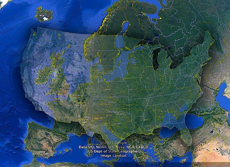 Map US, Europe